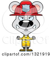 Clipart Of A Cartoon Mad Mouse Fire Fighter Royalty Free Vector Illustration