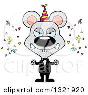 Clipart Of A Cartoon Mad Party Mouse Royalty Free Vector Illustration