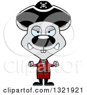 Clipart Of A Cartoon Mad Mouse Pirate Royalty Free Vector Illustration