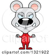 Clipart Of A Cartoon Mad Mouse In Pajamas Royalty Free Vector Illustration