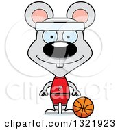 Clipart Of A Cartoon Happy Mouse Basketball Player Royalty Free Vector Illustration