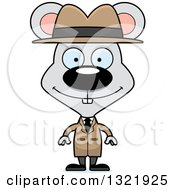 Clipart Of A Cartoon Happy Mouse Detective Royalty Free Vector Illustration