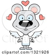 Clipart Of A Cartoon Happy Mouse Cupid Royalty Free Vector Illustration