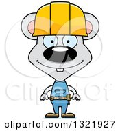 Poster, Art Print Of Cartoon Happy Mouse Construction Worker