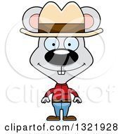 Clipart Of A Cartoon Happy Mouse Cowboy Royalty Free Vector Illustration