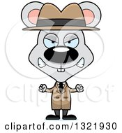 Clipart Of A Cartoon Mad Mouse Detective Royalty Free Vector Illustration