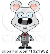 Clipart Of A Cartoon Happy Mouse Business Man Royalty Free Vector Illustration