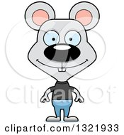 Clipart Of A Cartoon Happy Casual Mouse Royalty Free Vector Illustration