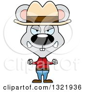 Clipart Of A Cartoon Mad Mouse Cowboy Royalty Free Vector Illustration