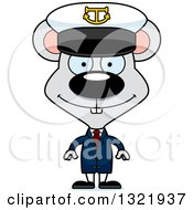 Clipart Of A Cartoon Happy Mouse Captain Royalty Free Vector Illustration