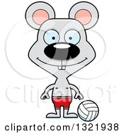 Clipart Of A Cartoon Happy Mouse Beach Volleyball Player Royalty Free Vector Illustration