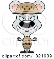 Clipart Of A Cartoon Mad Mouse Zookeeper Royalty Free Vector Illustration