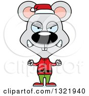 Clipart Of A Cartoon Mad Mouse Christmas Elf Royalty Free Vector Illustration
