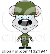 Clipart Of A Cartoon Happy Mouse Army Soldier Royalty Free Vector Illustration