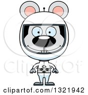 Clipart Of A Cartoon Happy Mouse Astronaut Royalty Free Vector Illustration