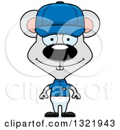 Clipart Of A Cartoon Happy Mouse Baseball Player Royalty Free Vector Illustration