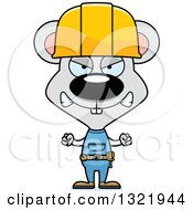 Clipart Of A Cartoon Mad Mouse Construction Worker Royalty Free Vector Illustration