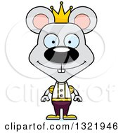 Clipart Of A Cartoon Happy Mouse Prince Royalty Free Vector Illustration