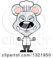Clipart Of A Cartoon Mad Mouse Chef Royalty Free Vector Illustration