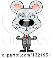 Clipart Of A Cartoon Mad Mouse Business Man Royalty Free Vector Illustration