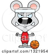 Clipart Of A Cartoon Mad Mouse Basketball Player Royalty Free Vector Illustration
