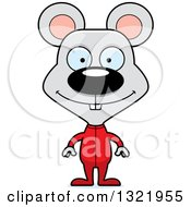 Clipart Of A Cartoon Happy Mouse In Pajamas Royalty Free Vector Illustration
