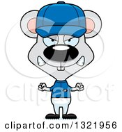 Clipart Of A Cartoon Mad Mouse Baseball Player Royalty Free Vector Illustration
