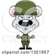 Clipart Of A Cartoon Mad Mouse Army Soldier Royalty Free Vector Illustration