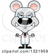 Clipart Of A Cartoon Mad Mouse Scientist Royalty Free Vector Illustration