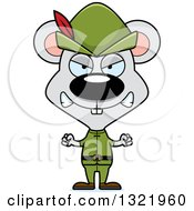 Clipart Of A Cartoon Mad Mouse Robin Hood Royalty Free Vector Illustration