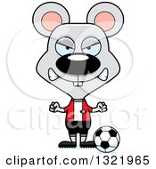 Clipart Of A Cartoon Mad Mouse Soccer Player Royalty Free Vector Illustration