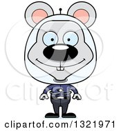 Clipart Of A Cartoon Happy Space Mouse Royalty Free Vector Illustration