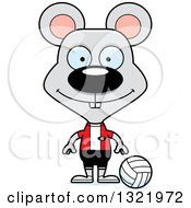 Clipart Of A Cartoon Happy Mouse Volleyball Player Royalty Free Vector Illustration