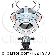 Clipart Of A Cartoon Mad Mouse Viking Royalty Free Vector Illustration