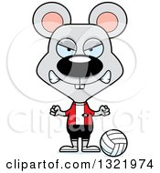Clipart Of A Cartoon Mad Mouse Volleyball Player Royalty Free Vector Illustration