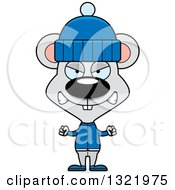 Clipart Of A Cartoon Mad Mouse In Winter Clothes Royalty Free Vector Illustration