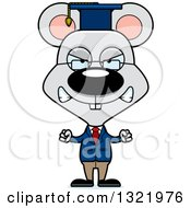 Clipart Of A Cartoon Mad Mouse Professor Royalty Free Vector Illustration