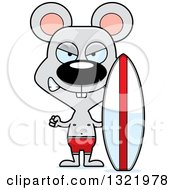 Clipart Of A Cartoon Mad Mouse Surfer Royalty Free Vector Illustration