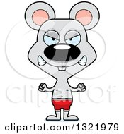 Clipart Of A Cartoon Mad Mouse Swimmer Royalty Free Vector Illustration