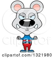 Clipart Of A Cartoon Mad Mouse Super Hero Royalty Free Vector Illustration