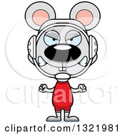 Clipart Of A Cartoon Mad Mouse Wrestler Royalty Free Vector Illustration