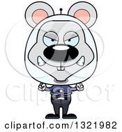 Clipart Of A Cartoon Mad Space Mouse Royalty Free Vector Illustration