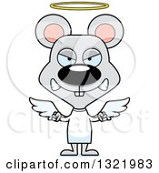 Clipart Of A Cartoon Mad Mouse Angel Royalty Free Vector Illustration