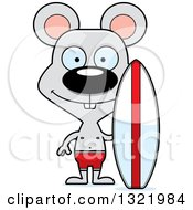 Clipart Of A Cartoon Happy Mouse Surfer Royalty Free Vector Illustration