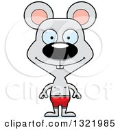 Clipart Of A Cartoon Happy Mouse Swimmer Royalty Free Vector Illustration