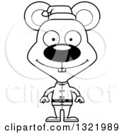 Lineart Clipart Of A Cartoon Black And White Happy Mouse Christmas Elf Royalty Free Outline Vector Illustration