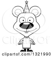 Lineart Clipart Of A Cartoon Black And White Happy Mouse Wizard Royalty Free Outline Vector Illustration