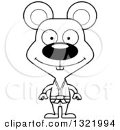 Lineart Clipart Of A Cartoon Black And White Happy Karate Mouse Royalty Free Outline Vector Illustration