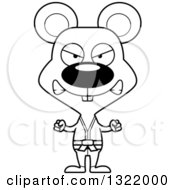 Lineart Clipart Of A Cartoon Black And White Mad Karate Mouse Royalty Free Outline Vector Illustration