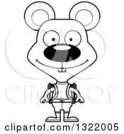 Lineart Clipart Of A Cartoon Black And White Happy Mouse Hiker Royalty Free Outline Vector Illustration